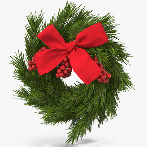3D model christmas wreath red bow