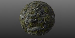 Mossy Cliff Rock 001 PBR Material Texture