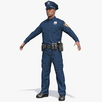 African American Police Officer T-Pose