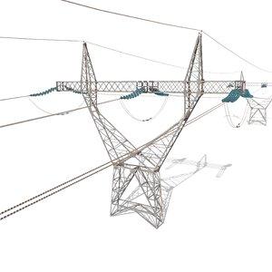 electricity poles blender 3D