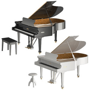piano fazioli black white 3D model