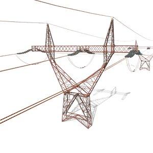 electricity poles 3D model