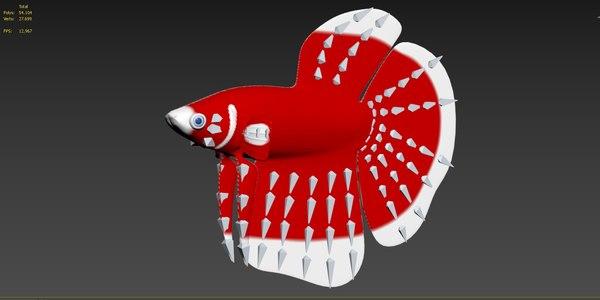 3D betta fish rigged model