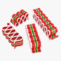 3D realistic christmas ribbon candy