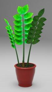 3D zamioculcas flowerpot dollar tree
