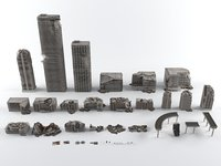 War destroyed ruined city buildings collection