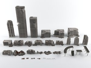 3D model war destroyed city buildings