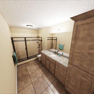 3D photorealistic bathroom model