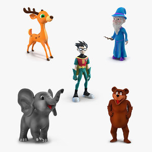 cartoon rigged characters 2 3D