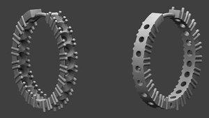 3D jewellery earrings stones modell