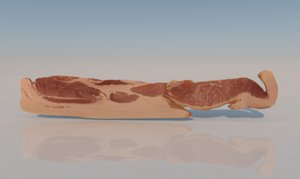 3D bacon uncooked food