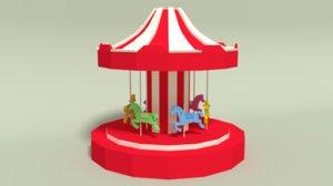 3D cartoon carousel model