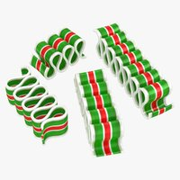 realistic christmas ribbon candy 3D model