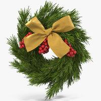 christmas wreath gold bow 3D