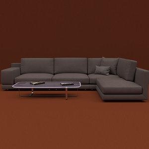 realistic sofa set model