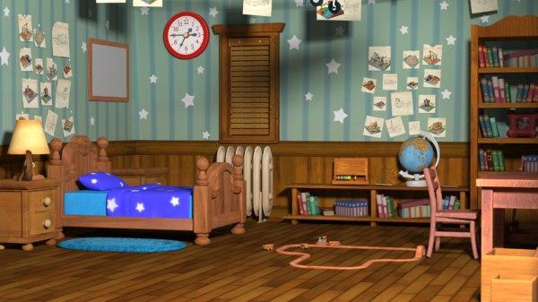 3D cartoon child room bed