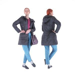 human young woman bag model