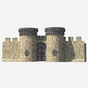 castle entrance gate 3D