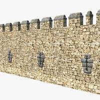 3D wide stone wall