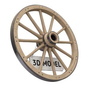 3D wood vintage wheel model