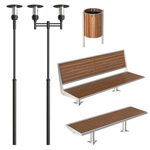benches exterior 3D