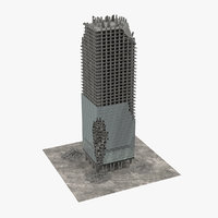 3D model destroyed skyscraper