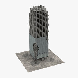 3D model destroyed skyscraper