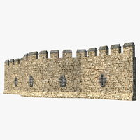 medieval castle stone wall 3D model