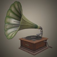 3D realtime antique gramophone
