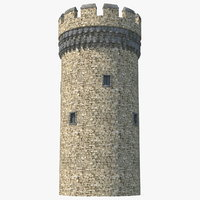 big medieval castle tower model