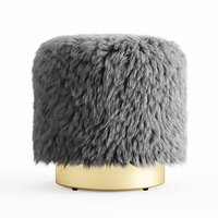 3D wool fur pouf model