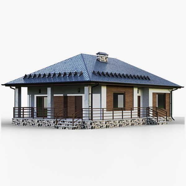 3D gameready house 3 type model