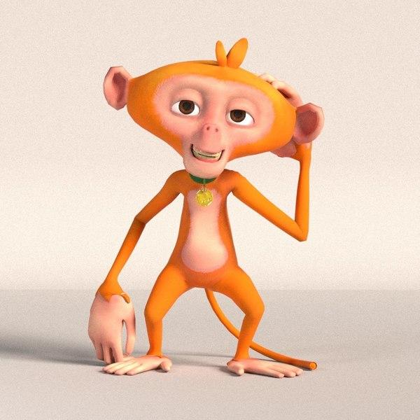hi-poly stylized cartoon monkey character 3D model