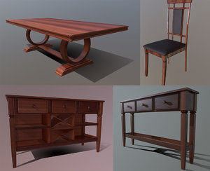 3D diningroom set leather chair model