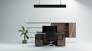 3D open space office furniture