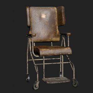 old worn wheelchair 3D