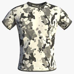 3D model realistic arctic camouflage t-shirt