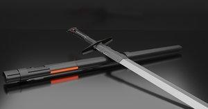 3D futuristic sword model