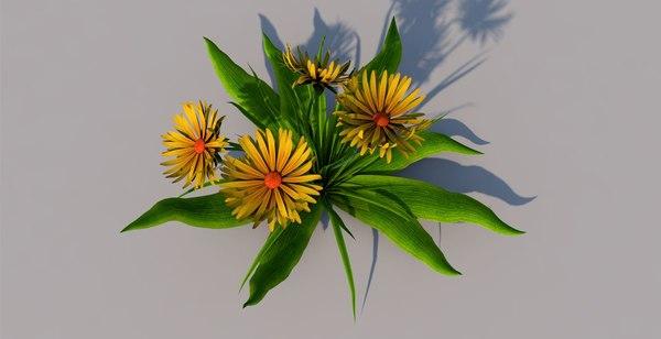 3D model flower yellow