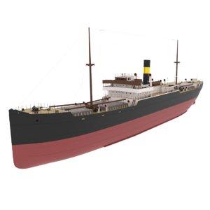 3D merchant ship cargo model