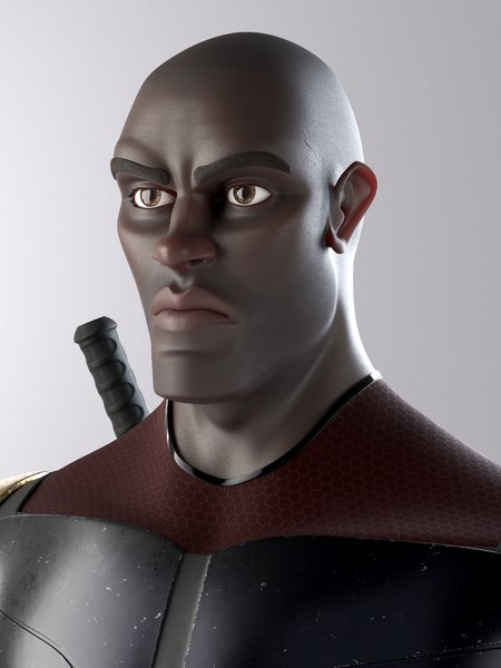 3D superhero mercenary model