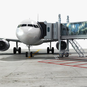 airport jetway airplane 3D model