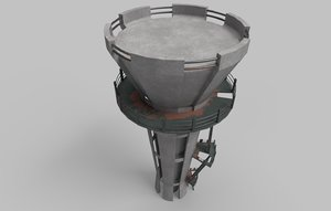 3D water tank tower model