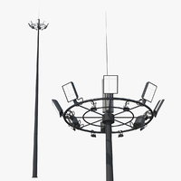 airport lighting mast 3D model
