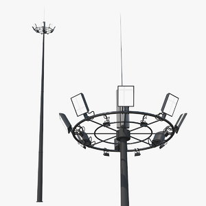 airport lighting mast 3D model