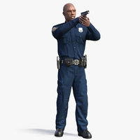 nypd cop aiming gun weapon 3D model
