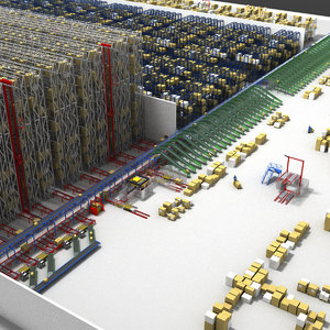 3D model warehouse conveyors cranes