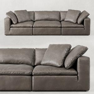 3D restoration cloud modular leather sofa model