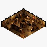 3D dungeon modular room model