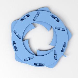 3D mechanical iris diaphragm blades